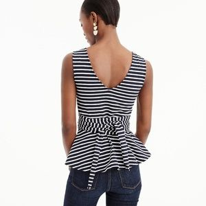 J. Crew Tops - NWT JCrew Sleeveless Tie-Waist Peplum Stripe Top